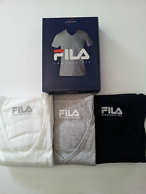 FILA men's sweater model 46033 V-neck 100% cotone