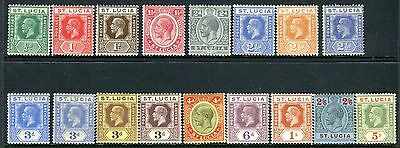 ST LUCIA-1921-30 A lightly mounted mint set with all listed shades Sg 91-105