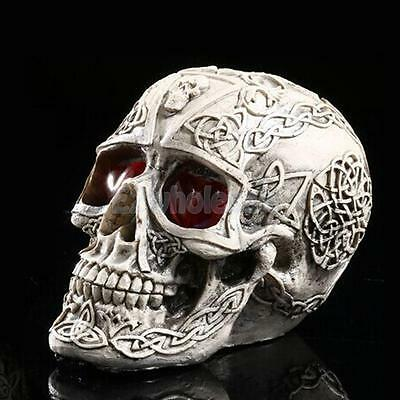 LED Skull Gothic Ornament Figurine Human Skeleton Head Halloween Decor #2