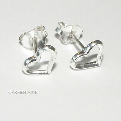 Solid Sterling Silver 925 Stud Earrings Petite Heart Design New with Gift Bag