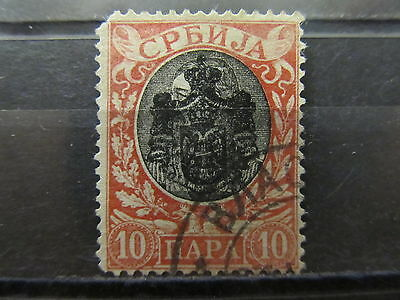 A2P7 SERBIA OPTD 1903-04 TYPE I PERF 13 1/2 10p USED