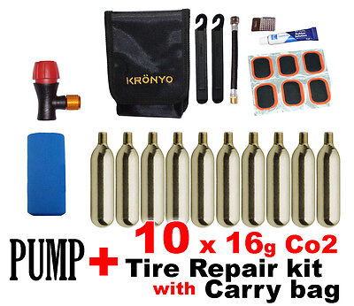 2 in 1 Presta Schrader CO2 Bike Pump , Tyre Repair kit + 16g CO2 Cartridges