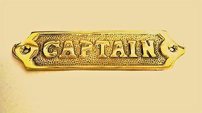 "Door Sign "" Captain"" Brass - Plaque And Signs - Nautical - Boat - Maritime"