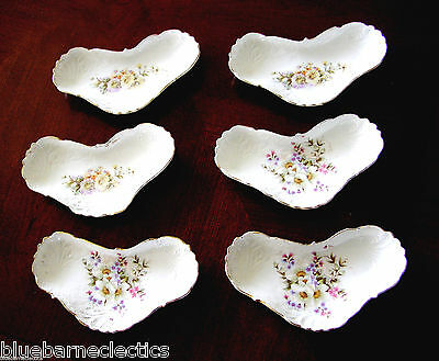 Set of 6 Antique Crescent Bone Dishes White w/Flowers