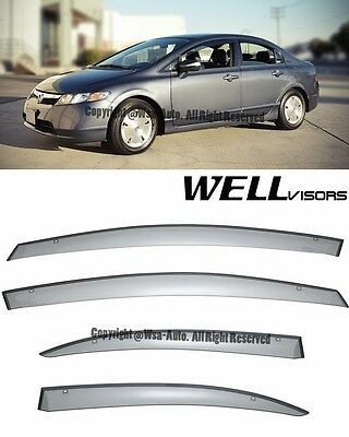 For 06-11 Civic Sedan WellVisors Side Window Visors Premium Series Rain Guard
