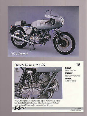 1974 DUCATI DESMO 750 SS V-Twin Bike 1993 Inline Classic Motorcycle CARD # 15