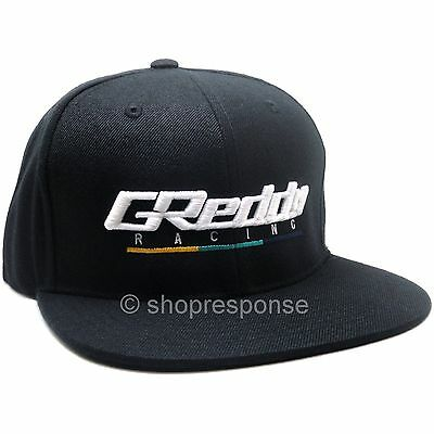 GReddy Racing Team Snap-Back Cap Hat Black w/White 3D Logo Adjustable Genuine