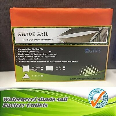 Waterproof SHADE SAIL 5M x 5M x 5m triangle Orange color Special