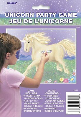 Unicorn Party Game for 16 model number 9088 1 blindfold, game sheet, AOI