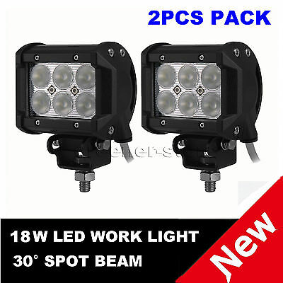 "2x 4"" 18W Cree LED Work Light Bar Fog Driving Lamp Spot Truck Offroad UTE 4WD"