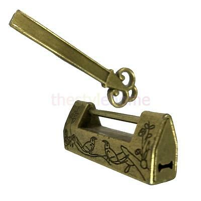 Retro Chinese Antique Style Brass Carved Bird Pattern Padlock Lock with Key