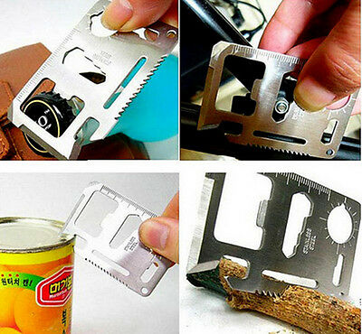 11 in1 Practical Multi Tools Hunting Survival Camping Pocket Credit Card Knife
