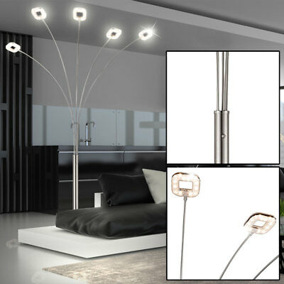 LED Steh Stand Strahler 5-flammig Lampe silber dimmbar Leuchte Schlaf Zimmer