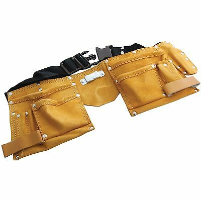 Heavy Duty 11 Pocket Leather Tool Belt Carpenter Builders Adjustable Hammer Loop