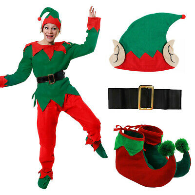 Ladies Elf Costume 5 Pc Adult Christmas Fancy Dress Santa's Helper Xmas Uk 6/24