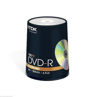 100 TDK Gold Blank DVD media 1x - 16X DVD-R Original Factory Seal COURIER ONLY