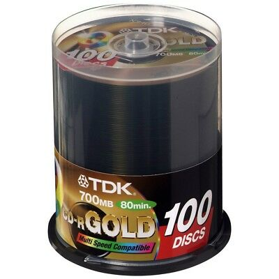100 pack TDK Gold Series CD-R 700Mb 52X Blank Recordable Discs Spindle APC