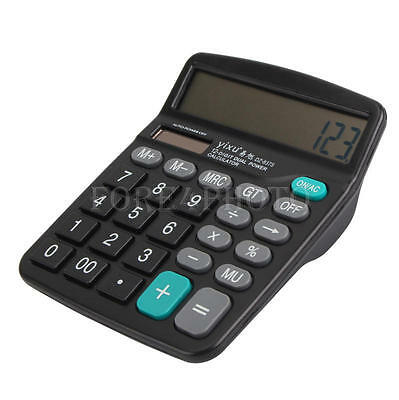 Black Multi Functional Home 12 Digital Calculator Dual Power Solar & Battery New