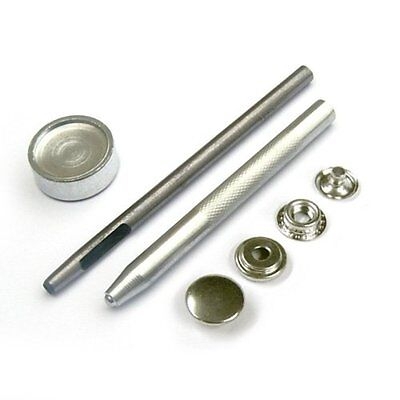 10 x 15mm Large Press Studs and Fixing Tool Kit Hollow Hole Punch Heavy Duty UK