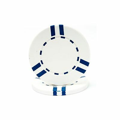 Lot of 100 Clay Composite 10 Gram Poker Chips White with Blue Striped Discontinu