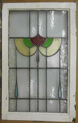 "LARGE OLD ENGLISH LEADED STAINED GLASS WINDOW Pretty Abstract 20.25"" x 31.75"""