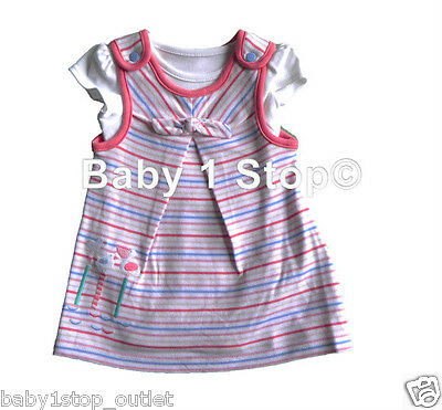 Baby Girls Pinafore Dress & Top Set Outfit 2 Piece Ages Newborn - 24 Months