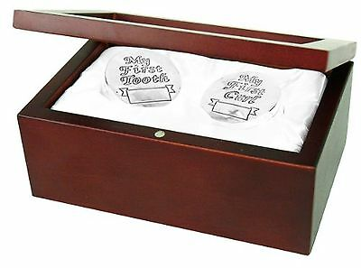 Stephan Baby Satin-Lined Rosewood Keepsake Box with Silver Plated First Tooth