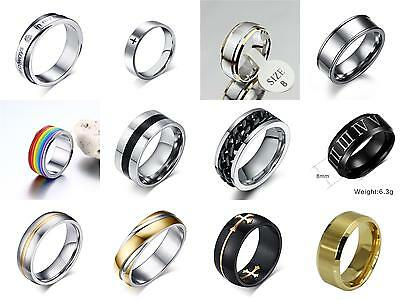 Man's Silver Black Gold Stainless Steel Long Last Comfort Fit Wedding Band Rings