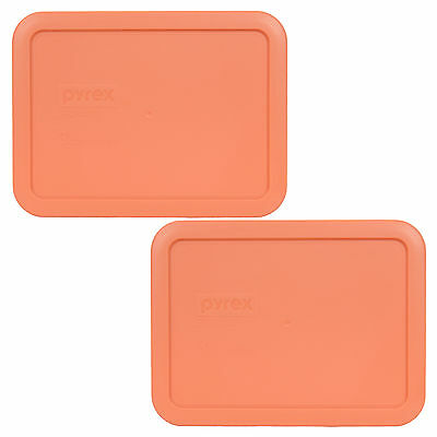 Pyrex 7210-PC Rectangle 3 Cup Storage Lid Cover Orange for Glass Dish 2 Pack
