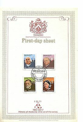 Transkei 1983 Celebrities of Medicine  Card FDC tone on card
