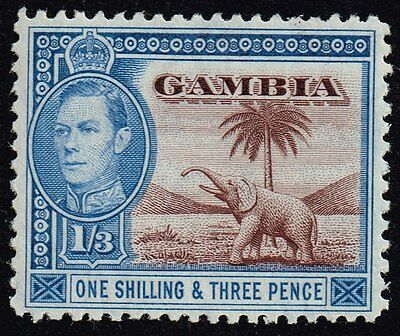 Gambia 1946 1s.3d. chocolate & blue, MH (SG#156a)