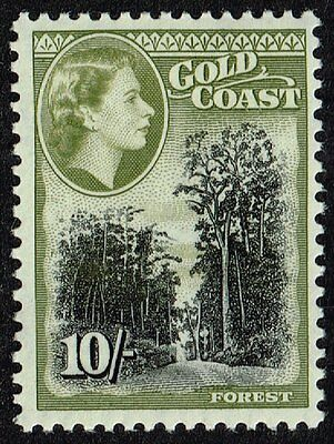 Gold Coast 1954 10s. forest, MH (SG#164)