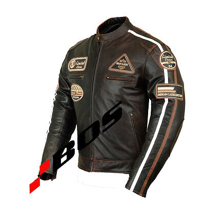 Triumph Cafe Motorcycle Biker Leather Jacket Motorbike Leather Jacket All-Size