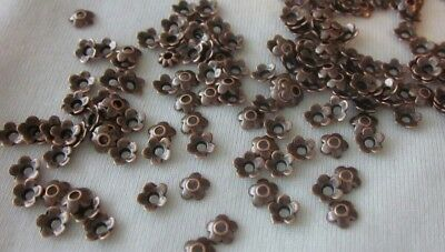 50 Antique Copper Coloured 6mm Flower Bead Caps #bc3346 Combine Post-See Listing
