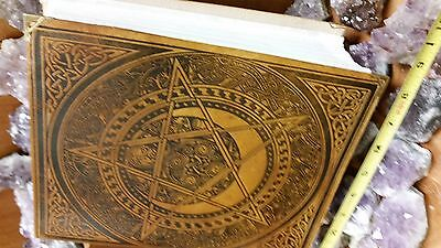 Spell Book, Leather Bound. Hand Tooled Yellow leather, Star