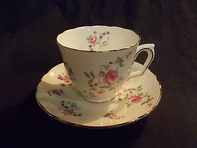 Vintage Crown Staffordshire Pink Rose Pattern Cup and Saucer