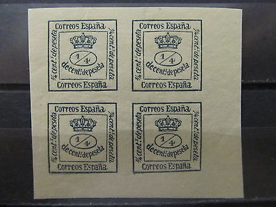 A2P8 SPAIN 1873 1/4c BLOCK OF 4 MH*