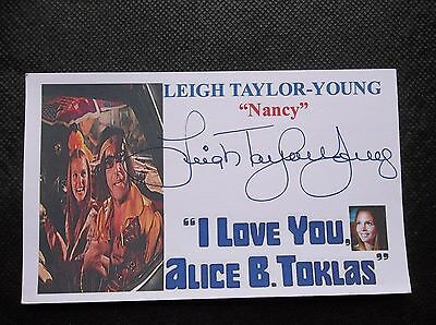"""Leigh Taylor-Young """" I Love You, Alice B. Toklas"""" Autographed 3X5 Index Card"""