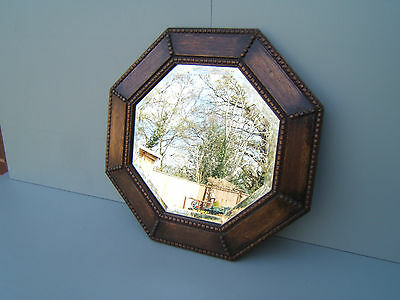 """Vintage Octagonal wall mirror with beaded frame & bevelled glass 17"""" x 17"""" OCT1"""