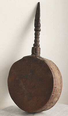 Antique NEPAL shaman's drum with beautiful carved handle