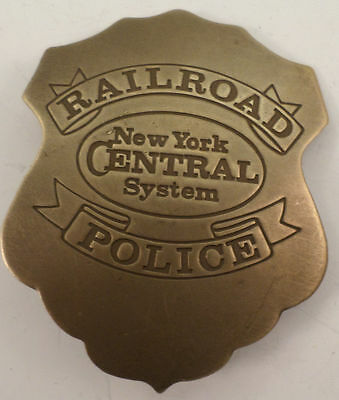 Embossed Railroad Police New York Central System Solid Brass Badge Pin #173