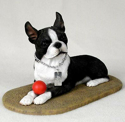 BOSTON TERRIER MY  DOG  Figurine Statue Pet Lovers Gift Resin Hand Painted
