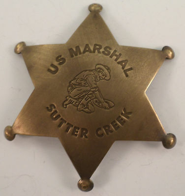 Embossed Us Marshal Sutter Creek Solid Brass Badge Pin #159