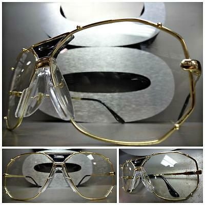 CLASSIC VINTAGE RETRO Style Clear Lens EYE GLASSES Large Wide Gold Fashion Frame