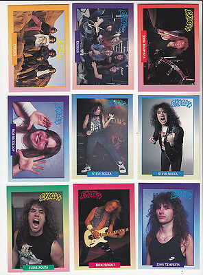 EXODUS Heavy Metal Rock Band 17 TRADING CARDS SET 1991 Brockum Rockcards