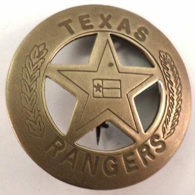 Embossed Star Texas Rangers Solid Brass Badge Pin #132