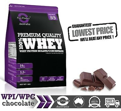 1Kg Whey Protein Isolate / Concentrate Chocolate Flavours Wpi Wpc  Powder
