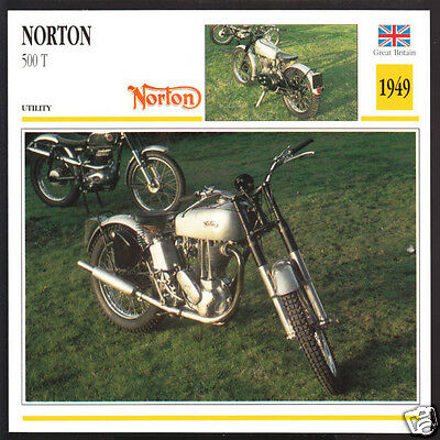 1949 Norton 500 T 500T (490cc) Geoff Duke Race Motorcycle Photo Spec Info Card