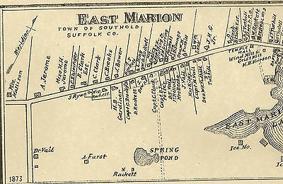 East Marion Southold NY 1873  Maps with Homeowners Names Shown