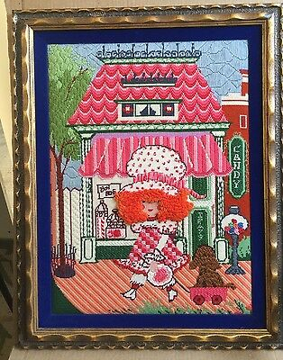 Vintage Crewel Embroidered Wall Art Kitschy Strawberry Shortcake? 1970's
